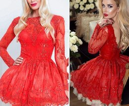 Wholesale Long Sleeve Sparkly Cocktail Dresses - 2018 Short Red Lace Homecoming Dresses Sparkly Crystal Beads Bateau Long Sleeves Lace Cocktail Party Gowns Mini Prom Dress Custom Made