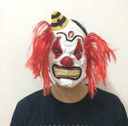 Máscara de palhaço mau on-line-Máscara de luxo assustador com máscara de palhaço de cabelo vermelho Halloween traje mal palhaço máscara