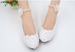Wholesale korean women dress up - New White hand-made high heel wedding shoes bridal bridesmaid single women's shoes Korean version of floret princess shoes.
