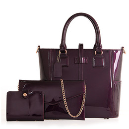 e8201e3fcbde Women Bag Famous Brands Patent Leather Shoulder Bag 3 PCS SET Designer  Handbags High Quality Female Fashion Composite Bags