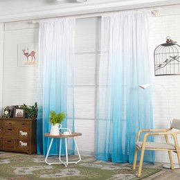 Wholesale Green Blackout Curtains - 200cm x 100cm Gradient Sheer Curtain Tulle Window Treatment Voile Drape Valance 1 Panel FabricrZI-203