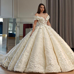 Wholesale Vintage Saudi - Saudi Dubai Princess Wedding Dress Off Shoulder Beads 3D Floral Appliques Tule Ball Gown Wedding Dresses Charming Arabia Bridal Wedding Gown