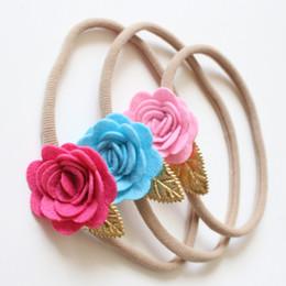 2019 15 rosas cor-de-rosa 15 pcs hotsale rosa rose flower sentiu cabelo elástico hair hairbands macios crianças simples floral headbands top quality crianças headwear 15 rosas cor-de-rosa barato