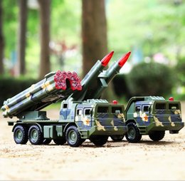 model military vehicle Canada - Military model Long range rocket artillery 1:32 alloy pull back car model diecast metal toy vehicles sound&light Missile launch vehicle