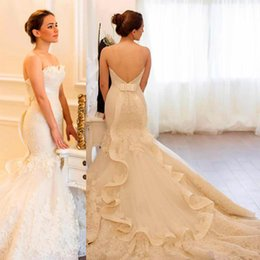 Wholesale Empire Sweetheart Ruffle Wedding Dress - 2018 Mermaid Wedding Dresses Sweetheart Backless Empire Waist Bow Ruffles Back Lace Appliques Bridal Gowns Vestido De Novia SE019