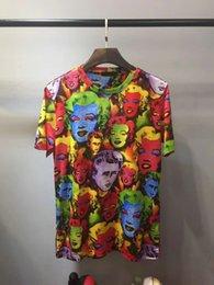 Wholesale monroe fashion - Mens luxury T shirt 2018 New Fashion mens Portrait Monroe stamp t shirts Casual Men Cotton short sleeved t shirt Designer TShirt tops tees