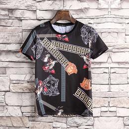 2019 ropa de roca masculina Nuevos Tops de la manera de los hombres de la marca Rock Style Clothes manga corta Casual Slim Tshirt Hombres camiseta de algodón Male Jersey de la flor Print Tees # 2530 ropa de roca masculina baratos
