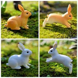 Wholesale plastic figurines animals - 50 Pcs Running Rabbit Miniature Figurine Sitting Hare DIY Accessories House Decoration Simulation Animal Models Plastic Toy DDA522