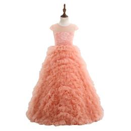 Wholesale Enfant Lace Dresses - Vestido Daminha 2018 New Flower Girl Dresses Elegant Orange Wave Type Floor-length Ball Gown For Girls Robe De Bal Enfant X