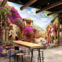 Wholesale paper towns - Custom 3D Mural Wallpaper European Town Pastoral City Landscape Nature Photo Wall Murals Cafe Restaurant Backdrop Wall Paper 3 D