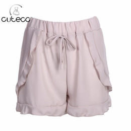 Wholesale Flared Skirt High Waist - 2017 summer women casual loose Korean style elastic high waist shorts skirt solid flare ruffles feminino sexy drawstring shorts