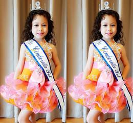Laranja pageant vestido crianças on-line-Laranja rosa Little Kids Cupcake Tutu Vestidos Pageant 2018 Tiers Babados Vestido de Flor Curto Menina Appliqued Criança Prom Party Vestidos