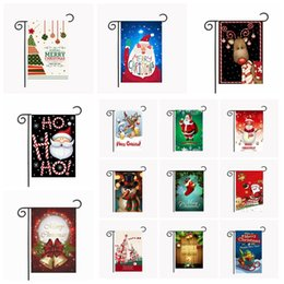 Wholesale hanging outdoor christmas decorations - 50 colors Christmas Garden Flags 30*45cm Outdoor Hanging Polyester Garden Flags Christmas Decorations Xmas House Decoration MMA354 50pcs