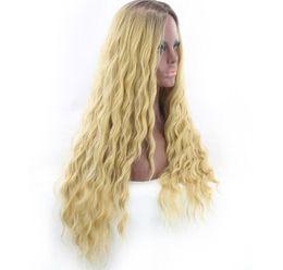 Milho americano on-line-Hot Europeia e American mulheres peruca branca de ouro preto longo cabelo encaracolado milho peruca quente pequena onda volume cabelo comprido apoio atacado
