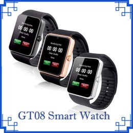 Wholesale I Android - 2018 GT08 Bluetooth Smart Watch Watches SIM Mini Phone Anti-lost for IOS i Phone 6s 7 8 Plus X Android Phones by DHL