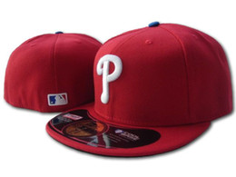team visors Coupons - 2018 New Arrival Men's Phillies Red Color Fitted Hats Team Embroidery logo Sports Full closed Baseball Fans Caps Flat Visor baseball Hats