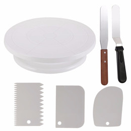 Wholesale Icing Smoother - 6pcs Cake Decorating Turntable Cake Decorating Supplies Com Icing Smoother(3pcs)2 Icing Spatula With Sided & angled