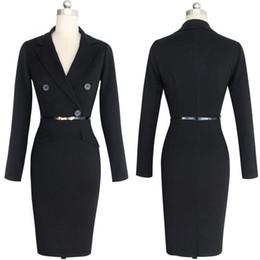 Women Winter Autumn Dress Suits Bodycon Party Club Dresses Sexy Vestidos Long  Sleeve Belt Evening Black Business Suit f8a7a71fd