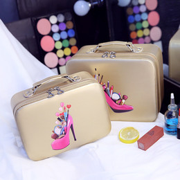 Wholesale Hold Ups - 2017 Hot professional PU Make up Box Portable Cartoon Makeup Cases Leather Hot Beauty Cases Trunk Hand Held Cosmetic Bag