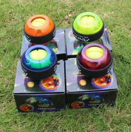 Wholesale Power Exercise - LED Wrist Power Ball Roller with Strap Gyroscope Force Strengthener Hand Ball Wrist Exercise Creative Toys With Retail Packaging