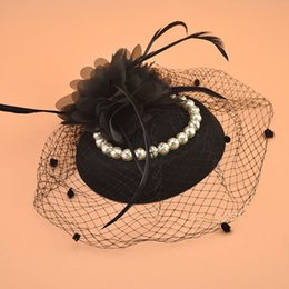 Mode 2018 noir dames chapeaux d'église avec des épingles à cheveux perles perles fleurs faites à la main bleu fils ivoire rouge mariée chapeaux de mariage chapeaux Birdcage Veils ? partir de fabricateur