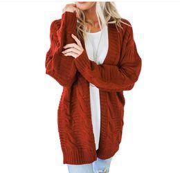 Cardigan trenzado grueso online-2018 Europa y los Estados Unidos nuevo popular color sólido giro suelto cardigan larga línea gruesa suéter de damas