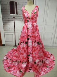 Wholesale Simple Floral Prom Dresses - Real Photos Women Sleeveless Long Satin A-Line Red Floral Prom Dresses 2018 Floor Length Open Back with Zipper Evening Gowns Custom Made