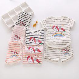 Wholesale Rainbow Clothes Kids - Unicorn Rainbow Kids sets Tracksuit Kids clothing Girl Striped T shirt short sleeve+ shorts Outfit Homewear 2pcs Set 2-7T 2018 Summer
