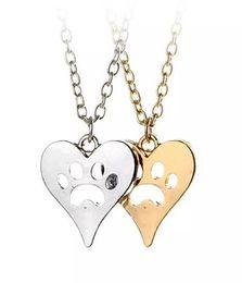 спасательные собаки Скидка Вы оставили свою лапу печатью на моем сердце Спасательная собака кошка Серебряная тоновая лапа принт Сердце ожерелье сердце с лапой вырезать животных любовника ювелирные изделия