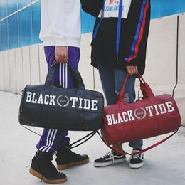 Wholesale Wholesale Sports Duffle Bags - Women Letter Printed Travel Bag Protable Handbag Shoulder Bag PU Leather Travel Duffle Bags Sports Beach Bag 2 Colors OOA4044