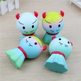 Wholesale fine phone - Fine Day Demon Doll Squishy Cute 12cm Jumbo Slow Rising Phone Straps Cartoon Pendant Scented Bread Kids Fun Toy Gift Free Shipping
