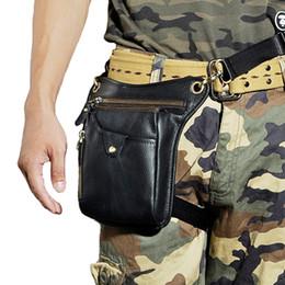Bolsa pierna hombres online-Norbinus Hombres Paquetes de cintura de cuero genuino Bolso de la pierna de la gota Hombro de cuero real Bolsos de Crossbody Bolsas de mensajero ocasionales Bolsa del teléfono