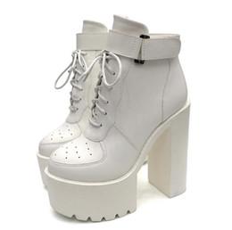 Schwarz Mode Bis Schnalle Damen Winter Plattform Designer Größe Ferse Schnüren Luxus Dicke 39 35 Stiefel Neue Stiefeletten Weiß 08XwknOP