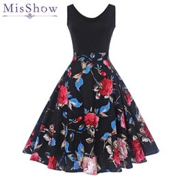 Wholesale Print Audrey - Misshow Fashion Spring Women 50s Rockbilly Vintage Dresses 2018 Audrey Hepburn Sleeveless Patchwork Floral Print Cotton Vestidos