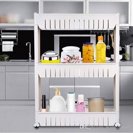 Wholesale Rack Wheels - 3-Tier Gap Storage Slim Slide Out Tower Rack Shelf Wheels Laundry Bathroom Kitchen Tool Skating Movable Plastic Household Shelf