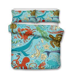 2019 luz verde consolador conjuntos Fontes da cama 3D mundo subaquático vida marinha Art Pattern Impresso Poliéster Rainha Conjuntos de Cama Todos Os Tamanhos Sem Enchimento