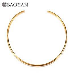 Wholesale Cuff Choker - Gold Color Silver Color 316L Stainless Steel Round O Shape Torque Cuff Choker Necklace for Women