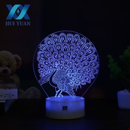 Wholesale Led Peacock - HUI YUAN Peacock 3D Lamp LED Night Light Touch Table Lamp 7 Color Change Powered by Battery USB Christmas gift