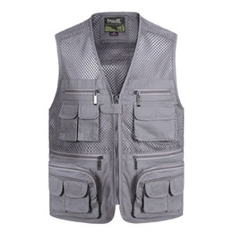Wholesale breathable fishing jacket - New Summer Casual Breathable Mesh Vest Men Fast Dry Photographer Sleeveless Jacket Multi-Pockets Outdoors Hike Hunt Fish Vest