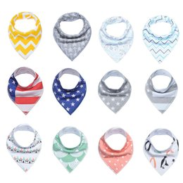 Wholesale triangle bibs - INS Baby Arrow usa flag Dot Floral Bibs Infant Triangle Scarf Toddlers Cotton Bandana Burp Cloths multiple styles C3144