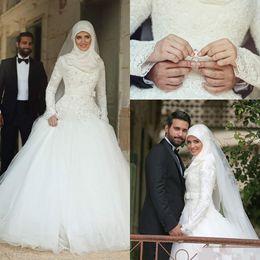 2019 Arabe Islamique Musulman Une Ligne Robes De Mariée Dit Mhamad Dentelle Hiver Robes De Mariée Manches Longues Col Haut Midwest Pakistanais Abaya Robes ? partir de fabricateur