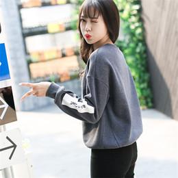 Chándal de color coreano online-Carta Poliéster Coreano Pop Otoño Harajuku Pájaro Carta Impreso Mujeres Cuello redondo flojo Chándales Pullover Sudadera fresca Mujer