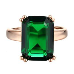 Gran cristal verde anillos de dedo para mujer joyería de moda boda y compromiso accesorios de la vendimia chapado en oro rosa R700 desde fabricantes