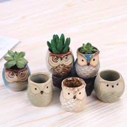 Decoração de jardim coruja on-line-Cartoon Owl-shaped Flower Pot for Succulents Fleshy Plants Flowerpot Ceramic Small Mini Home Garden Office Decoration HH7-856