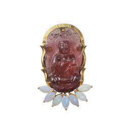 Pingente de ouro opala on-line-Lii Ji 18 K Ouro 21x34mm Natural Turmalina Vermelha Esculpida GuanYin Pingente de Opala