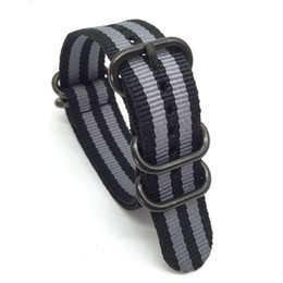 Wholesale watch strap nato - 2017 new watch strap 22mm 1PCS Heavy Duty 22MM Nato Watch Strap 3.0 5 rings James Bond Black Buckle Watch Band 5 Colors