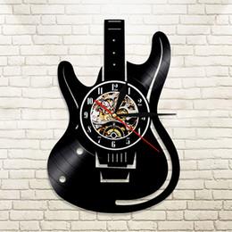 style de couleur de guitare Promotion 1 Pièce Instruments de Musique Guitare Mur Vinyle Led Mur Éclairage Couleur Changement Vintage LP Disque Horloge Décor À La Main LED Lumière