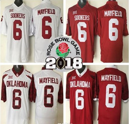 Wholesale Roses Bowl - Sonners 2018 NCAA Heisman Rose Bowl Patch Jersey Oklahoma Sooners #6 Baker Mayfield Red White Limited Stitched College Football Jerseys
