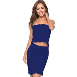 bandage piece skirt set Promo Codes - Women Tube Crop Top Skirt Set Strapless Elastic Two Pieces Suits for Women Bandage Ruffles Sheath Ladies Cropped Top Clothes Set
