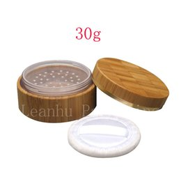 Wholesale glass powder container - 30g X 20 bamboo containers with puff sifter for loose powder, sifter personal care jar loose powder tin box pot bamboo matrial